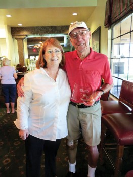 Left to right: SBCO Treasurer Anne Everett with Volunteer of the Year John Young; photo by Ken Siarkiewicz