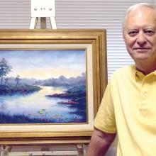 Mick Desmarais' painting Untitled; photo by J. Cohen
