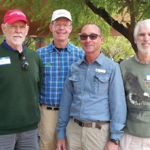 Outgoing SaddleBrooke Hiking Club President Larry Allen, second from left, with three of the new 2015/16 club officers (from left): Fred Norris treasurer, Tim Butler associate chief hiking guide and Randy Park vice president.