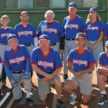 2015 Winter Season Monday Recreation League Champion – Ambient Air Heating & Cooling. Back row: Jonathan Green, Pat Tiefenbach, Mike Hoedel, Steve Grabell, Pat Brennan, Becky Emmons and Jeff Rayner; front row: Sandie Hills, Mark Foster, Dale Norgard, Fran Weinberg and Jim Watts; photo by Pat Tiefenbach
