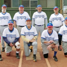 2015 Winter Season Thursday Coyote League Champion – HomeTeam Pest Defense. Back row: Steve Sahl, Dale Norgard, Jim Dunlap and Jerry Cowart; front row: Vern Boothby, Ed Cussick, Paul Butler, Dominic Borland and Jim Takacs; photo by Pat Tiefenbach