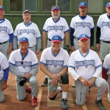 2015 Winter Season Thursday Coyote League Champion – Patrick Shaffer Dentistry. Back row: Mike Hood, Mike Hamm, Gary Oberg, Howie Emmons and Rich Battagello; front row: John Nola, Ron Quarantino, Jim Westerberg, Jerry Cowart and Jack Graef; photo by Pat Tiefenbach