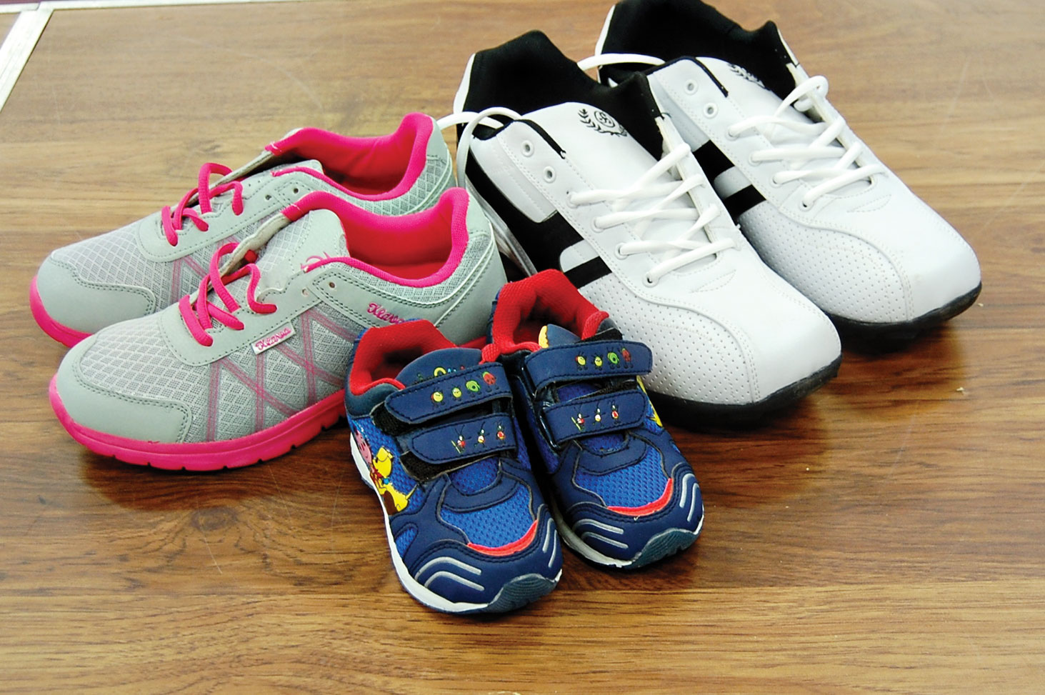 Shoes from smallest to largest sizes.