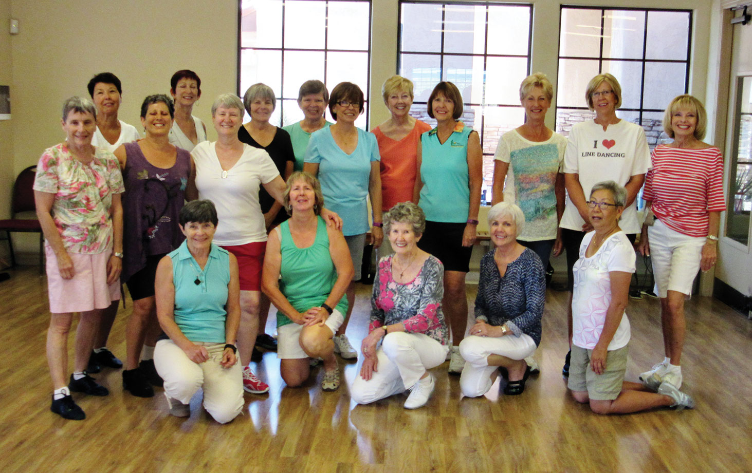 Monday afternoons are great fun for these pretty line dancers in Rebecca's Easy Intermediate class as summer temps arrive.