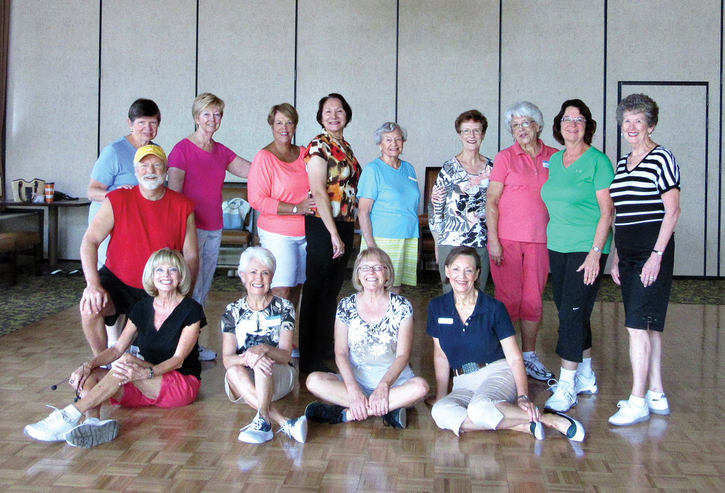 Tuesday morning finds these terrific Easy Intermediate dancers wearing out their sneakers in the Vermilion Room; lots of talent shows even in the heat. Rebecca's classes run year round for all skill levels.