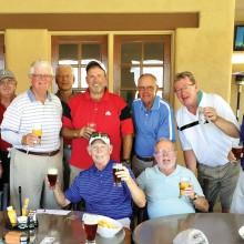 Standing, left to right: Shel Jahn, Larry McNamee, John Eakin, John Stevenson, Matt Kambic, Bob Edelblut, Dan Schroeder, Cliff Huggins and Steve Kore; sitting: Dick Stanley and Al Tracy