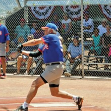 Joe Oczak swings hard to help his team; photo by Ron Finelli.