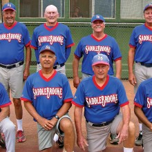 2015 Spring Season Friday Community League Champion – Coyote Golf Cars: Back row: Mark Forsch, Darrell Sabers, William Rowe and Ron Romac; front row: Jake Jacobson, Bill Wescoe, Rich Hagerty and Jeff Rayner; photo by Pat Tiefenbach