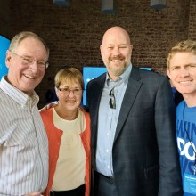 Left to right: Joe and Jenny Rink; G. Aul and J. Marble, Microsoft Windows leaders