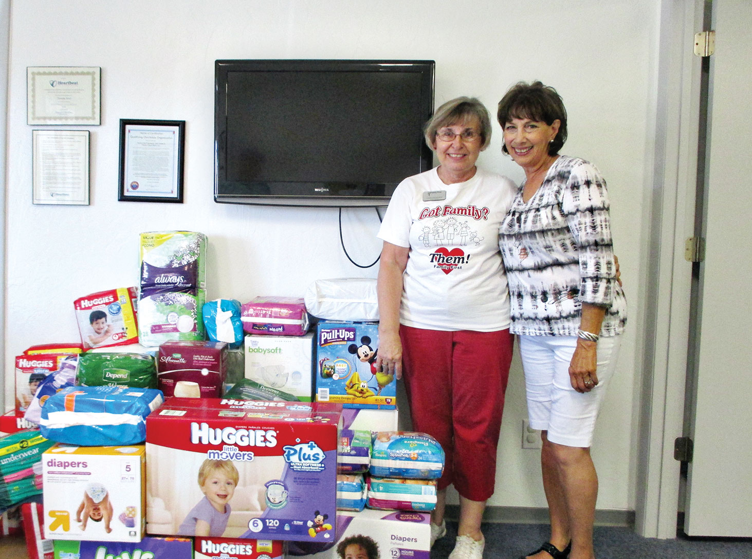 Director of the Family First Pregnancy Care and Diaper Bank, Clare Grochocki and Missions Liaison Cathy Scott from The Community Church at SaddleBrooke