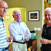John Gill, the late Bill Leathem and Rich LaRosa at the May Snack and Chat; photographer, Ron Talbot