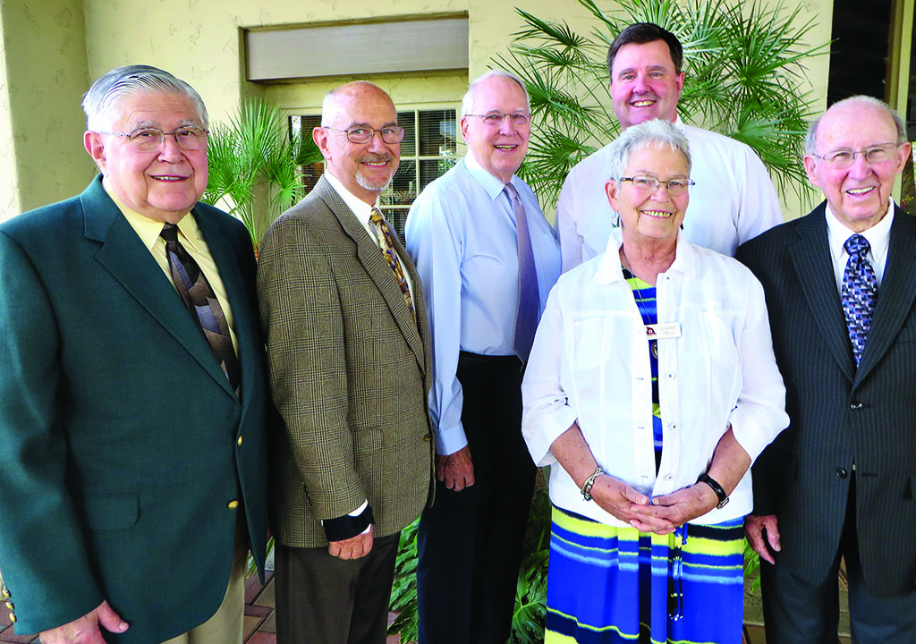 Attending the Resurrection Church First Anniversary Service were (from left) Pastors Palmer Ruschke, Roger Pierce, Wayne Viereck, Susanne Havlic, Al Jensen and Roy Guinn. Not pictured are Pastor Jim Vadis and Intern Stephen Hilding.