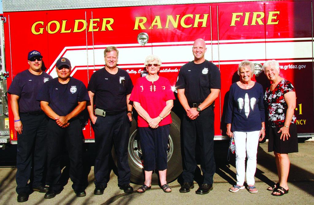 SaddleBrooke Fire Station from left: Captain Ryan Miller, Engineer Abel Gastellum, Fire Medic Walt Schmidt, Ellen Nelson, Firefighter Ruben Bravo, Barbara Hoag and Kathy Peters