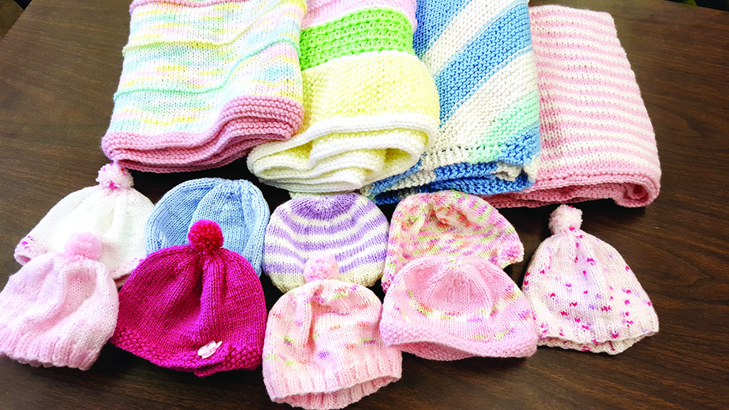 Knitted hat and blanket donations