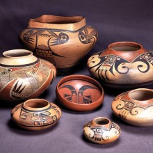 Hopi-Tewa pottery by the Nampeyo family, c. 1900-1930. Photo by Jannelle Weakly; photo courtesy of Arizona State Museum.