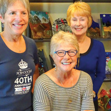Terese Butler, Pam Gappa and Candy Armstrong with a few of their fused glass creations; photo by LaVerne Kyriss