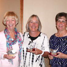 MPLN 2015 Aces of the Year (gross and net) and Most Improved Player, left to right: Diane Mazzarella, Linda Allison, Karen Koch