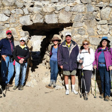 Hole in the Wall Gang at Honeybee Canyon, SaddleBrooke Hiking Club, left to right: Mark Schwartz, William Brown, Georgette Brown, Lola Lee, Dave Sorenson, Marge Thor, Barb Nicholson, Barbara Wilder; photo by Karen Schickedanz.