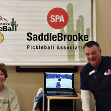 """Shawne Cryderman and Bob """"Kosmo"""" Kramer welcome SaddleBrooke residents to join SPA during the RAC fair."""