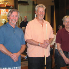 Dominic Borland (TD), Jay Clary, winner of the cue/case from Linsay's Quality Cues, Joe Giammarino (TD)