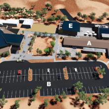 A - existing sanctuary; B - new parking lot; C - new sanctuary; D - new children's building; E - new youth building