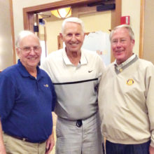 Lute Olson with Neil Deppe and Joe Guyton after receiving his Paul Harris Fellowship Award for his continued support of the tournament