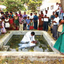 A person being baptized