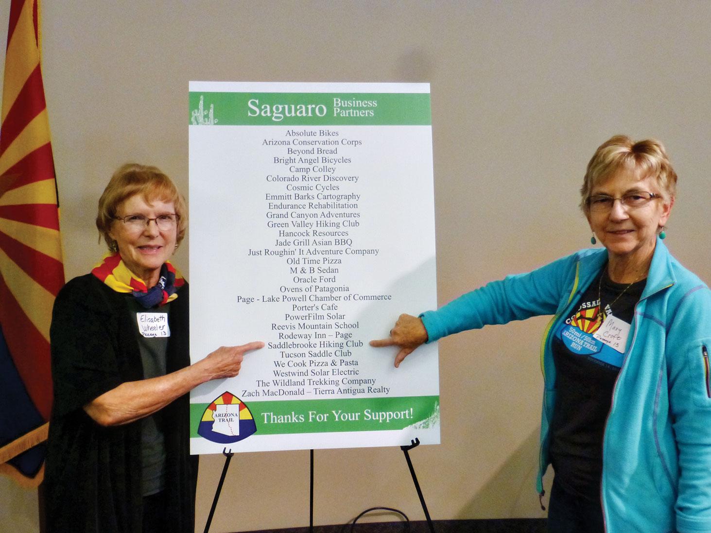 Arizona Trail Association recognizes Elisabeth Wheeler and Mary Croft from the SaddleBrooke Hiking Club.