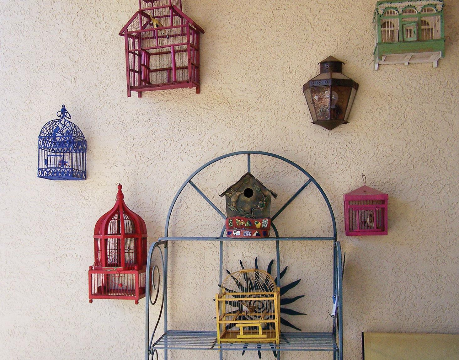 Some of Claudia's birdhouses