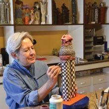 Harriet Hason at work in her studio