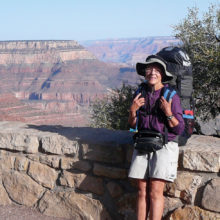 Elisabeth Wheeler backpacks in the Grand Canyon.