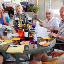 Looks like a party but it really was a fun Social Committee meeting of the SaddleBrooke Singles to plan the 2016-2017 Season. Left to right: Ray Peale, Virginia Hegseth, Barbara Brown, Dorie Dell, Micki Johns, Danny Howells and Barry Katkowski; photo by Bob Lamb.