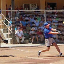 The crowd watches as Stu Kraft, SSSA President, takes a mighty swing; photo by Allan Kravitz.