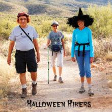 Halloween hikers are Michael Reale, Rainie Warner and Jan Springer; photo by Barbara Wilder