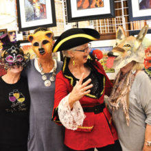 Some of the artists celebrated Halloween, left to right: Candy Armstrong, Karen Warner, Mary Kopp and Pat Parkinson