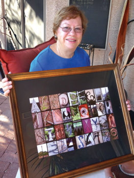Barbara Wilder displays her Maine: A to Z and 0 to 9 photo collage.