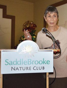 Doris Evans speaking at SaddleBrooke Nature Club; photo by Ed Skaff