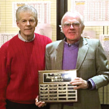 SMGA President Greg Tarr with 2016 President's Cup winner Ron Curtis