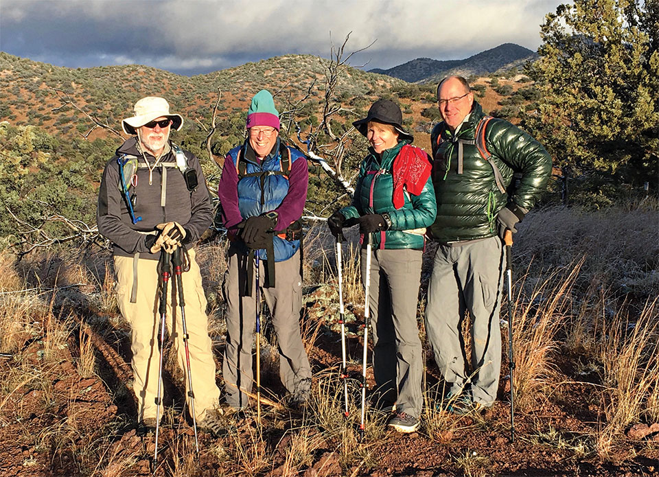 SaddleBrooke hikers at the Parker Canyon Lake Trailhead are (left to right) Fred Norris, Aaron Schoenberg, Donna Cano, and Pete Canon; photo by Frank Earnest.