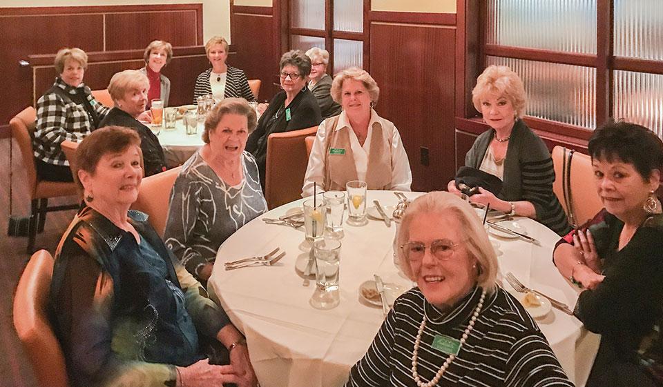 Unit 21 ladies preparing to enjoy lunch at Sullivan's Steak House on March 3; photo by Sue Hagedon