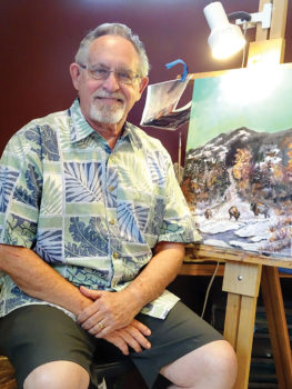 Fred Flanagan pauses in his studio with an in-progress work, Buffalo Mist.