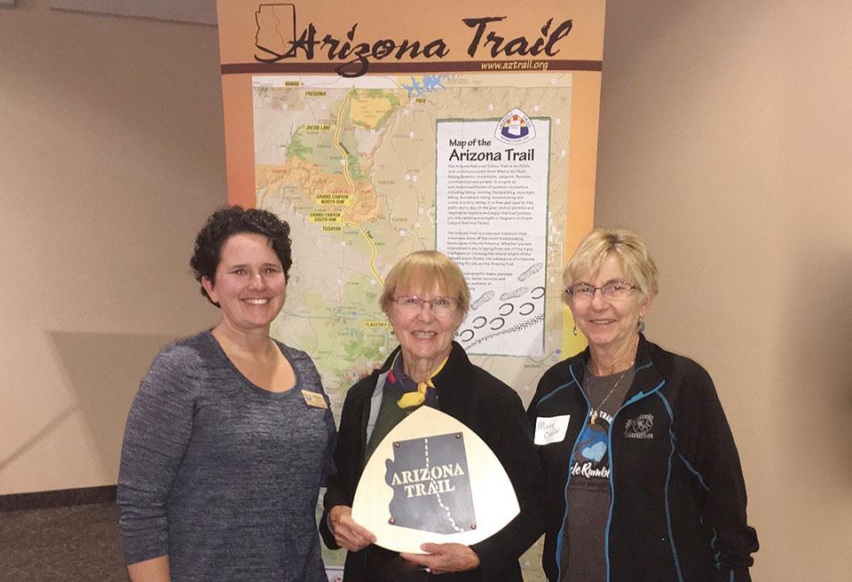 Wendy Lotze, Arizona Trail Association, with Elisabeth Wheeler and Mary Croft, Co-Stewards of the Oracle Passage of the Arizona Trail.