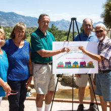 Left to right: Senior Village Board Members Sandy Morse, Stephanie Thomas and Gary Hammond receive a generous grant donation from SaddleBrooke Health Fair Planning Committee members David Eisenhauer, Ken Siarkiewicz and Marjorie Eisenhauer.