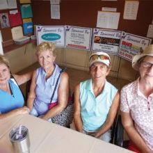 At the scoring table: Nancy Fuller-Wilson, Geri Conser, Carol Bidwell and Molly Fullerton