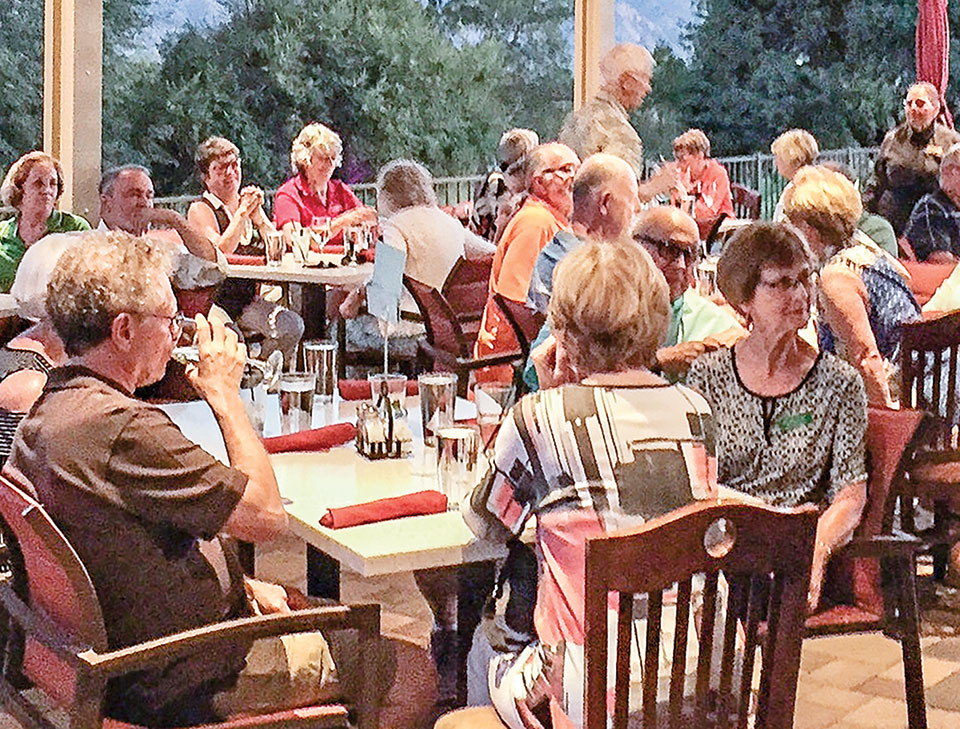 Unit 21 Poker Run players assembled at the Roadrunner Grill anxiously waiting to see who had the best Poker hand. Photo by Dede Crowder.