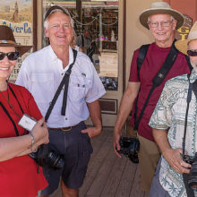 Four members attending the DIGS October field trip at Helldorado Days in Tombstone include (left to right) Susan Schwartz, Dan Garand, Bob Garner and Bruce Hale; not pictured: Laurel and Terry Parrott; photo by Bill George.