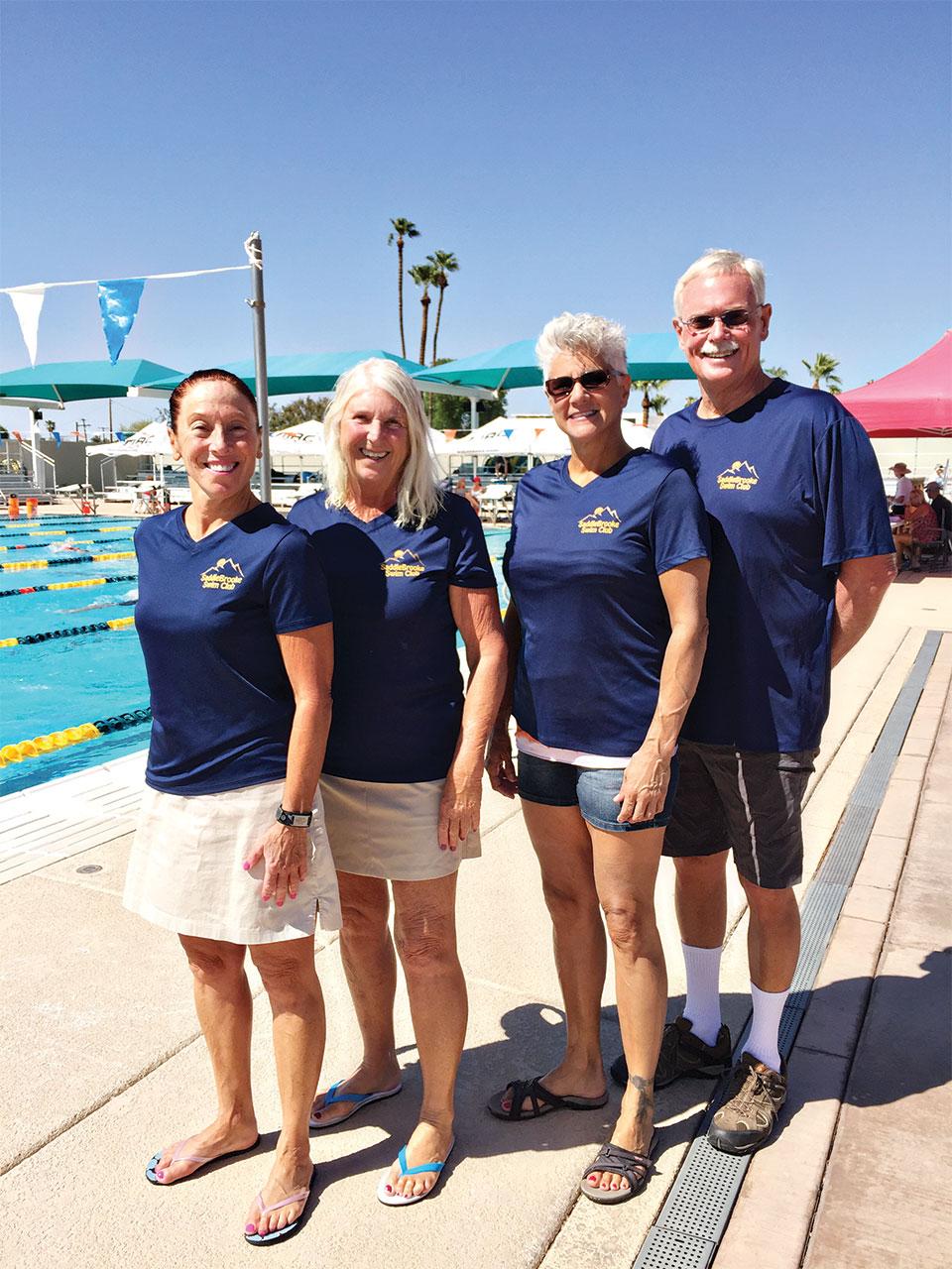 Lyn Moreno, Allison Lehman, Samantha Martoni and Craig Schaffer participated in the third annual Jamina Winston swim meet.