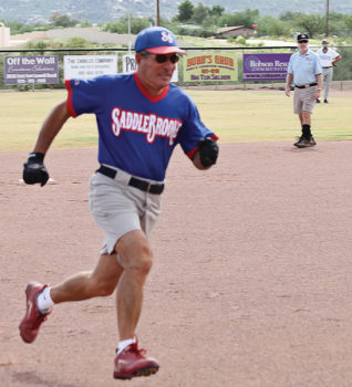 Q has been rounding the bases for 20 years of SaddleBrooke teams; photo by Allan Kravitz.