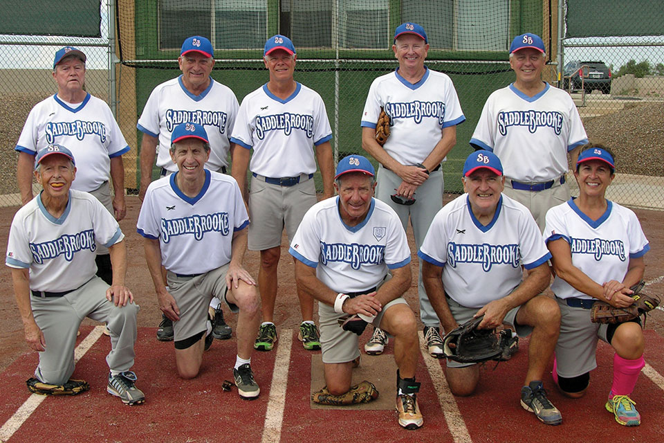The Charles Company team, with manager Ron Quarantino, dominated Monday softball; photo by Pat Tiefenbach.