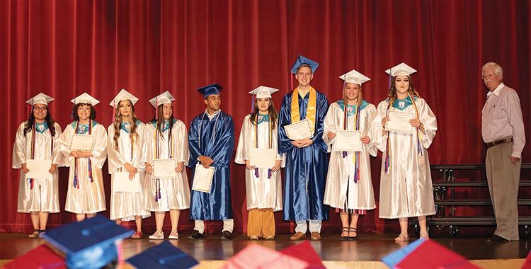 Steve Groth, President of SBCO (far right), recognized San Manuel High School SBCO scholarship recipients at their graduation ceremony.
